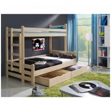 Dviaukštė trijų miegamųjų vietų lova BENIAMIN II