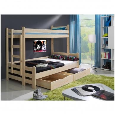 Dviaukštė trijų miegamųjų vietų lova BENIAMIN II 2
